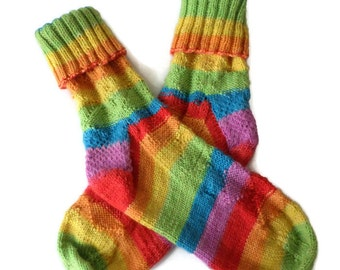 Socks - Hand Knit Women's Striped Socks - Casual Socks - Size 7-8