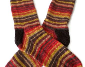 Socks - Hand Knit Men's Earthtone Striped Socks - Size 10-11 - Casual Socks - Weekend Socks