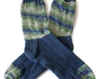 Socks - Hand Knit Men's Denim Blue and Green Socks - Size 9-10