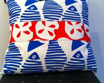 Pillow Blue Fish Red Sandollars Beach House Throw Pillow Hand Printed Red White Blue Two for Sixty