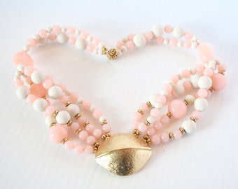 Vintage Pink Trifari Multi Strand Necklace 1950s Chunky Gold Medalion Multistrand Pink White Lucite Beads 50s Glam