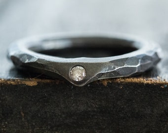 Carved Silver Ring with Diamond