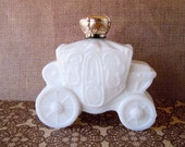 Vintage 1970's White Milk Glass Stagecoach Royal Carriage Avon Perfume Bottle Decanter Empty Field of Flowers