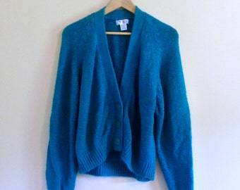 CLEARANCE, PREVIOUSLY 27.00 - 80s Soft Emerald-Teal Cardigan with Big Buttons - Size M