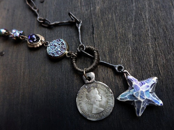 Sister Moon. Mixed media lariat necklace with antique coin and pyrite crystal beads.