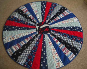 Nautical Round Baby Quilt, Play Mat