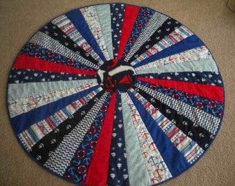Nautical Round Baby Quilt, Play Mat