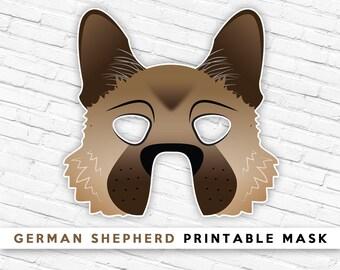German Shepherd Mask   Malinois Dog Mask   Printable Halloween Mask