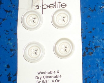 Vintage La Petite Buttons - Clear Buttons - Small Buttons - 4 Matching Buttons - Washable and Dry Cleanable Buttons - 4 Hole Buttons