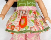 Green pink red words flowers doll dress pants set, 10 13 15 inch Waldorf doll clothes, 18 inch girl doll 15 inch baby doll handmade gift m2m