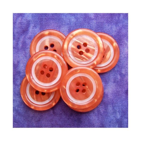 Flame Orange Buttons 22mm - 7/8 inch Luminescent Fire Orange Sew Thru Buttons - 7 VTG NOS Hot Lava Orange Ring-Around Sewing Buttons PL082