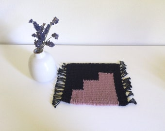 Tiny Table Textile No.10 - Black and Rose