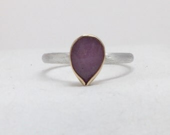 Rose Cut Pear Sapphire in 14k Gold Sterling Silver Ring, Modern Engagement Ring, Alternative Bridal