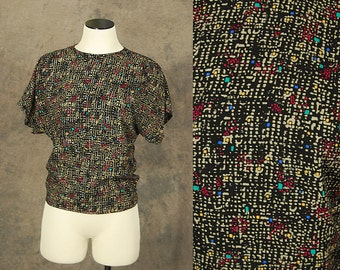 Clearance SALE vintage 80s Blouse - 1980s Black Abstract Dot Boxy Shirt Top Sz S M