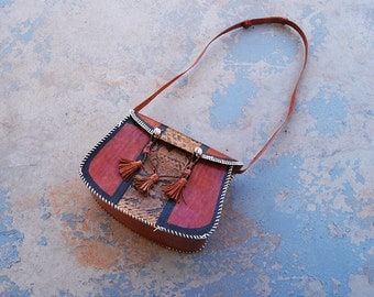 vintage 70s African Leather Bag - 1970s Boho Patchwork Snakeskin Shoulder Bag Tribal Ethnic Purse