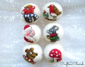 Needle Felted Christmas Ornaments,Felted baubles,Set of 6