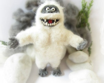 Abominable Snowman, Needle Felted Ornament,Bumble,Tree topper