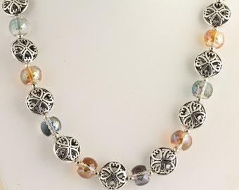 Faceted Glass Bead Necklace. Listing 450982254