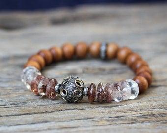 Rutilated Diamond Sandalwood Boho Bracelet / Luxury Bohochic Jewelry, Diamond Pave, 18K Gold, Fragrant, Rutilated Quartz, Natural Gemstone