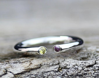 Yellow Diamond Ring Purple Diamond Open Ring, Anniversary Ring, Alternative Wedding Ring, Modern Ring, Stacking Ring, April Birthstone, Boho