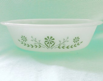 Glasbake Green Floral Oval Baking Dish