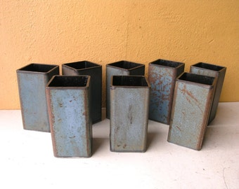 Square Pencil Cup, Metal Pencil Holder, Desktop Accessory, Pen Holder, Coworker Gift, Industrial Style, Desktop Furniture, Rusty Blue Green