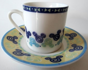Mickey Mouse Tea Cup Saucer Mug Disney World White Blue Green Heavy Bottom Vintage AT HOME Collection Ceramic Demitasse Rare