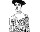 Adele by Gustav KLIMT - CLING rubber STAMP by Cherry Pie Art Stamps