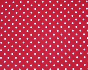 White on Red Polka Dot Fabric, Red and White Cotton Fabric, Dot Fabric for patchwork and crafts