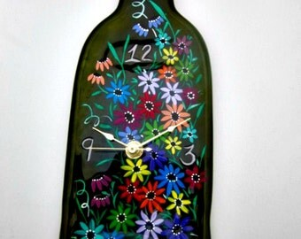 Wine Bottle Clock,  Green Melted Recycled Wine Bottle Clock, Hand Painted Colorful Flowers