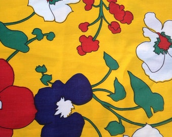 Bold and bright yellow flowered quilting fabric- 1 yard
