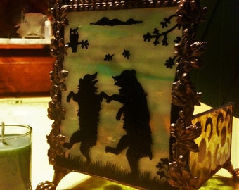 RESERVED FOR CALLA -Hand Painted Gothic Moon Dance Bears Candle Holder - Stained Glass