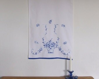Vintage Hand embroidered wall hanging, table runner, Polish folk art, cross stitch roses, hand towel, organic cotton, cobalt blue on white