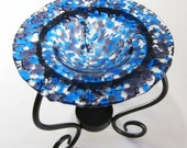Tart Burner - Blue and Purple Fused Glass , Oil Burner, Home Decorating, Room Scents, Home Fragrance, Perfume Oil Holder