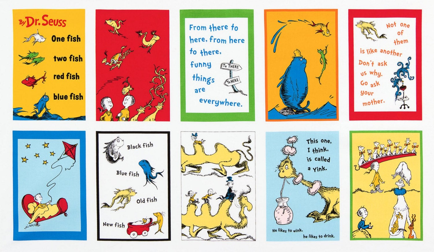 dr seuss children u0027s fabric one fish two fish fabric book panel by