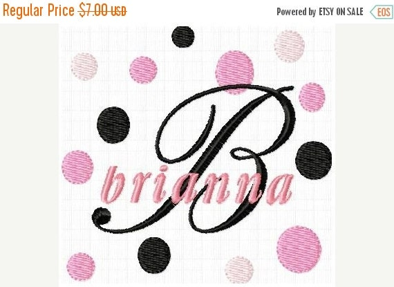 SALE 65% off Fancy Fonts and Dots Monogram Machine Embroidery Designs Set Instant Download Sale