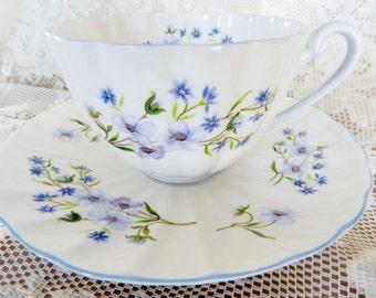 1940-62 Shelley Teacup, Blue Shelley Teacup,  Blue Rock Tea cup, Dainty Teacup, Shelley Blue Rock,   No S40