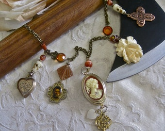 Lizzie Borden: Who Knows What Passion Lurks CAMEO NECKLACE Vintage Assemblage Copper and Gold Heart Cross Skulls Charm One of a Kind ooak