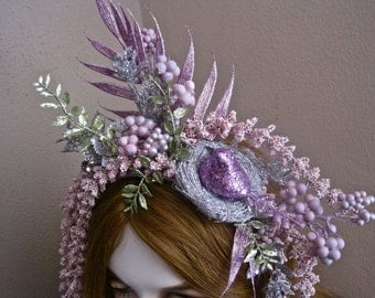 Fairy Headband Bird Nest Headpiece Sprite Fascinator Sparkly Lavender Silver and Celadon Green Leaves and Berries Springtime Fantasy Easter