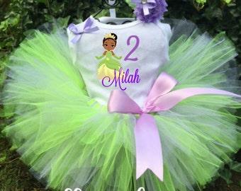 Princess Tiana Tutu Outfit - Tiana Tutu Set - Tiana Dress - Princess and the Frog Birthday Tutu Outfit