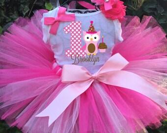 Personalized Pink Birthday Three Piece Tutu Set - Owl Tutu Outfit - 1st Birthday
