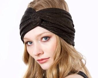 Wide Soft Headband Evening Hair Accessory Turban Hat Metallic Headband Gold Metallic Turban Headband For Women Spring Fashion 1920s Turban