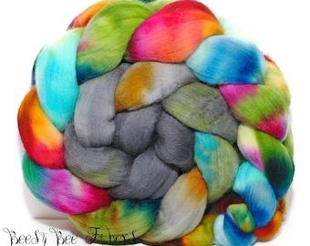 DARK CHRYSALIS - Domestic Merino Hand-Dyed Hand Painted Combed Top Wool Roving Spinning Felting Fiber - 4.1 oz