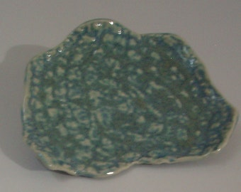 """X-Small Blue Opal Textured Wavy Plate - READY TO SHIP - Squarish 4"""" - 4-1/4"""" by 3-1/2"""" W - Trinket or Candle Holder - Business Card Holder"""