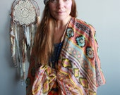 Gypsy Soul Pattern Bohemian Festival Shawl Sweater Jacket Batwing Kimono Bell Sleeve Yoga Beach Cover Up Colorful