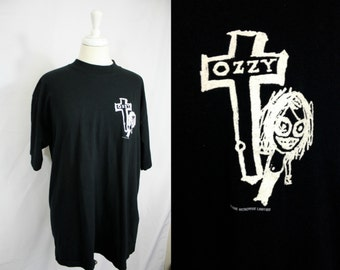 Vintage 1995 OZZY OSBOURNE Black Concert Tee | Ozzy Stickman + Cross Rare | 100% Cotton |  Xxl Unisex 48 Chest | Heavy Metal Black Sabbath