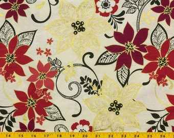 Christmas fabric, Cotton, Off white background Poinsettias, Vines, Leaves, Gold, Red Black 44 inches wide, Generous FAT QUARTERS