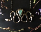 Silver Snake Necklace with Labradorite - Inspired by Garden Snakes - Made by Jamie Spinello -