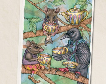"Three For Tea 5""x7"" blank greeting card"
