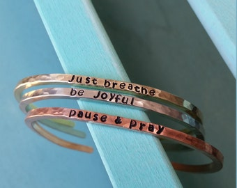 Personalized Copper Or Brass Or Silver Stacking Cuff